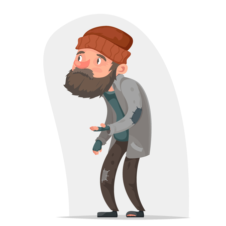 Obdachloser Räuber traurig männlichen Charakter bitten Hilfe Geld isoliert Hände Cartoon-Symbol Vektor-Illustration