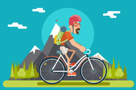 Mountain Ride Bicycle Geek Hipster ycling Travel Nature Lifestyle Concept Planning Summer Vacation Tourism Forest Journey Symbol Man Bike Flat Design Template Vector Illustration 일러스트