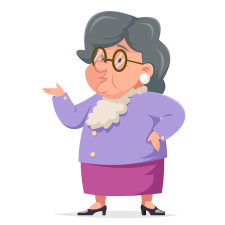 Talking Wise Grandmother Old Woman Granny Character Adult Icont Cartoon Design Vector Illustration