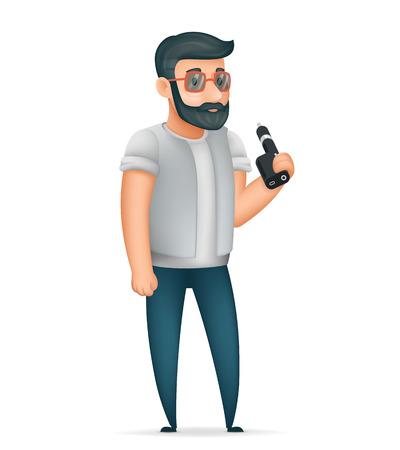 3d Vape Smoking Geek Hipster Casual Character Icon Cartoon Poster Vector illustration