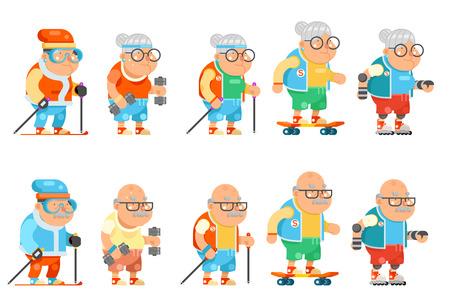 フィットネスおばあちゃんおじいちゃん大人の健康活動老齢男女キャラクターセット漫画フラットデザインベクトルイラスト。