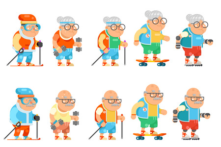 Fitness granny grandfather adult healthy activities old age man and woman characters set cartoon flat design vector illustration. Illustration
