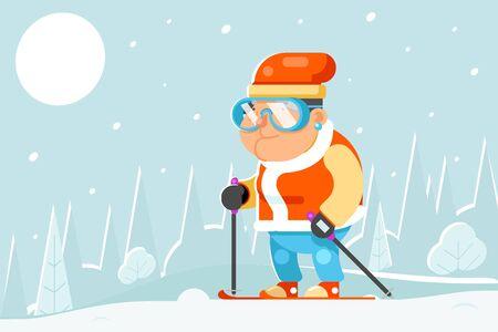 Granny skiing adult skier winter sports healthy activities old age man character cartoon flat design vector illustration.