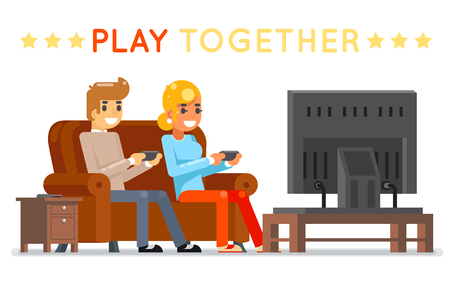 Play together gamer young girl boy watching tv playing game sit couch cartoon character flat design vector illustration