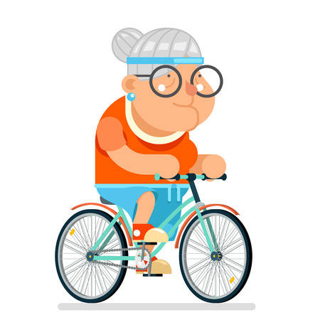 cycling Fitness Granny Adult Healthy Activitie Ride Bicycle Old Age Woman Character Cartoon Flat Design Vector illustration