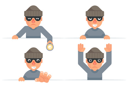 Greedily evil thief grabbing hand flashlight peeping out surrender give up cartoon characters set flat design isolated vector illustration