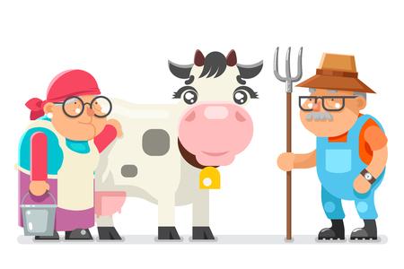 Ilustración de vector de campesina vieja lechera y granjero