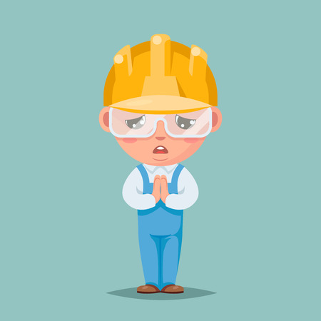 Convince agree pray ask cute builder engeneer condolences compassion mascot cartoon character design vector illustration