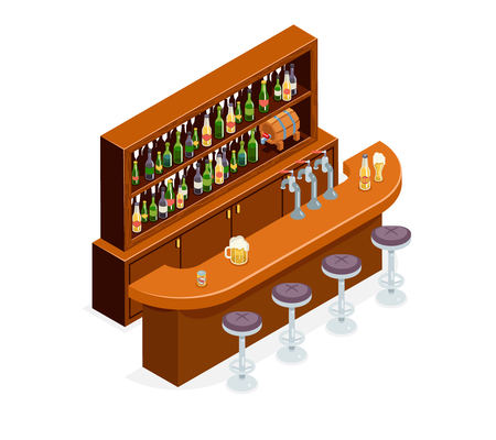 Isometric Pub Bar Restaurant Cafe Symbol Alcohol Beer House Interior Icon Isometric Concept Flat Design Template Vector Illustration