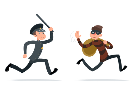 Thief Escape Loot Policeman Run Character Cartoon Retro Design Vector Illustration