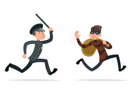 Złodziej ucieczki łup policjanta uruchomić charakter kreskówka retro projekt wektor ilustracja