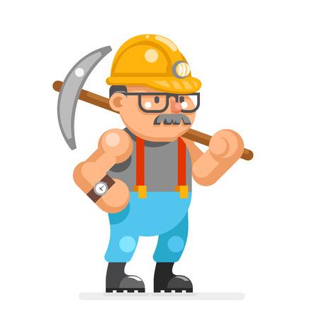 Miner collier man pitman character cartoon mine-worker isolated design flat vector illustration