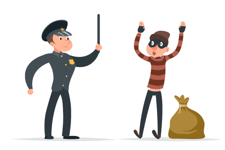 A thief surrendering to the policeman cartoon design vector illustration