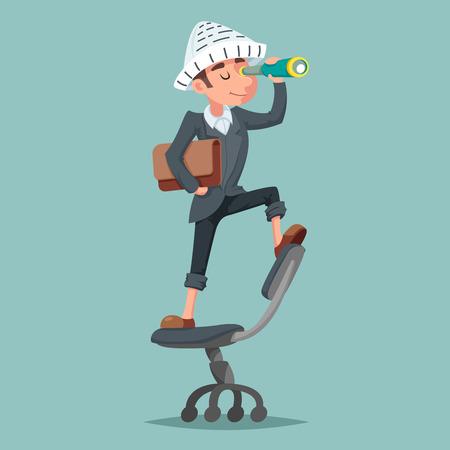 Aventurier chapeau journal homme d'affaires mascotte pirate spyglass dessin animé personnage design vector illustration Vecteurs