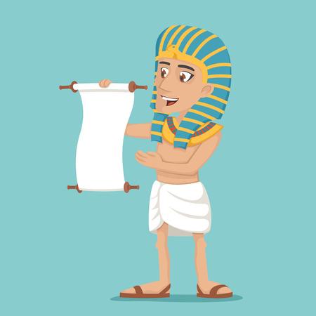 Egyptian character read scroll icon cartoon design vector illustration