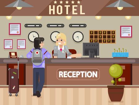 La recepcionista del hotel responde a las preguntas del viajero del mostrador de recepción del huésped diseño flay ilustración vectorial Foto de archivo - 95477456