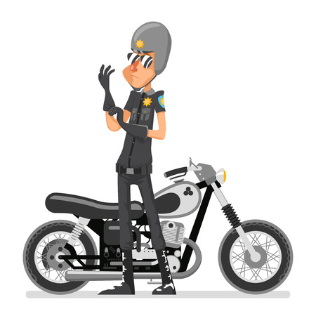 Policeman with motorcycle icon Illustration