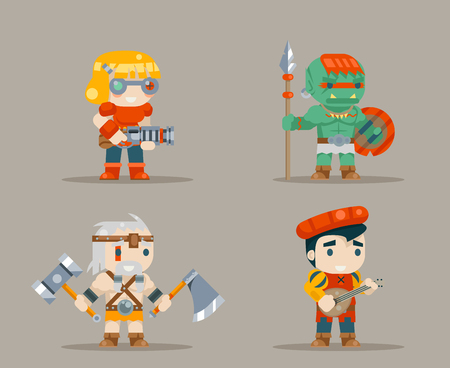 RPG game characters icons set