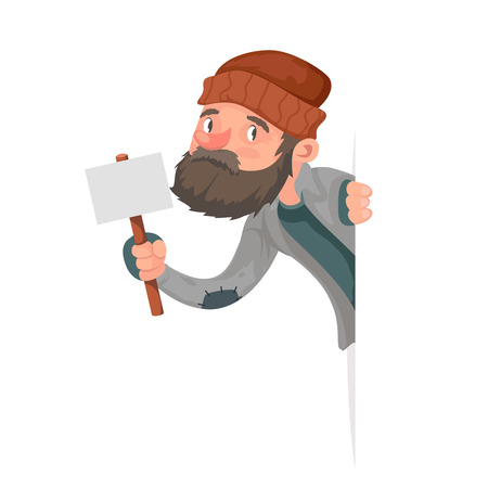Look Out Corner Poor Homeless Bum Male Character Beg Help Hand Isolated Icon Cartoon Design Vector Illustration.