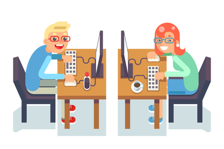 PC monitor programmer gamer table chair guy girl isolated icon flat design character vector illustration