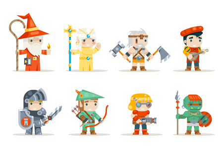 Warrior mage elf priest archer barbarian berseker bard tribal orc engineer inventor rifleman fantasy RPG game characters isolated icons set vector illustration