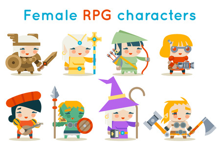 Cute female RPG characters fantasy game isolated icons set flat design vector illustration. Stock Illustratie