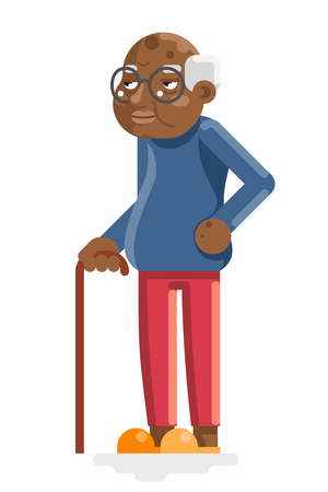 African American European Old Adult Man Grandfather Flat Design Vector Illustration