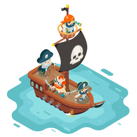 Isometric pirate ship crew buccaneer filibuster corsair sea dog sailors captain fantasy RPG treasure game character flat design vector illustration. Illustration