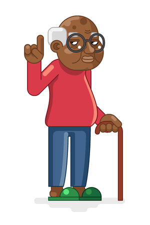Old Adult Flat Design Cartoon Illustration.