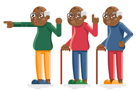 Old Man African American European Adult Grandfather Characters Isolated Set Flat Design Vector Illustration. Illustration