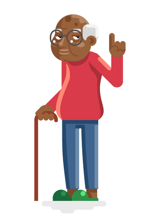 Wise old african american european grandfather adult flat design vector illustration Vectores