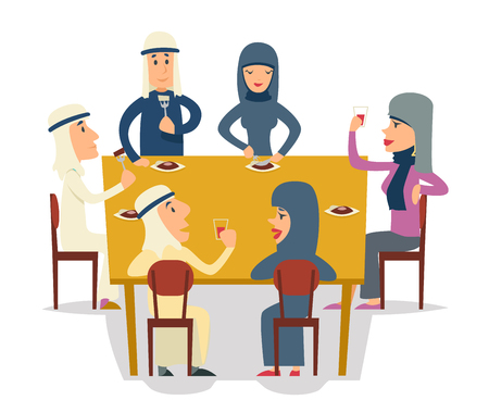Arab Family Group Friends Eat Meal Characters Celebration meeting Party Cartoon Design Vector illustration