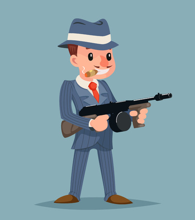 Gangster with sub-machine gun thug criminal icon character. Retro cartoon design vector illustration.