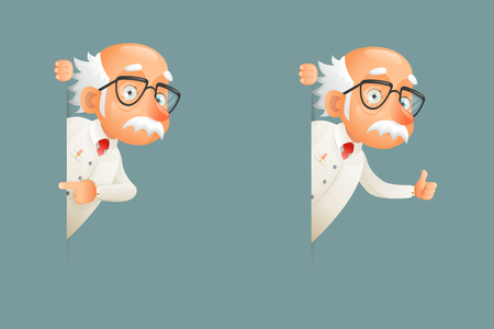 Old Wise Scientist Character Look Out Corner Icons Cartoon Design Vector Illustration