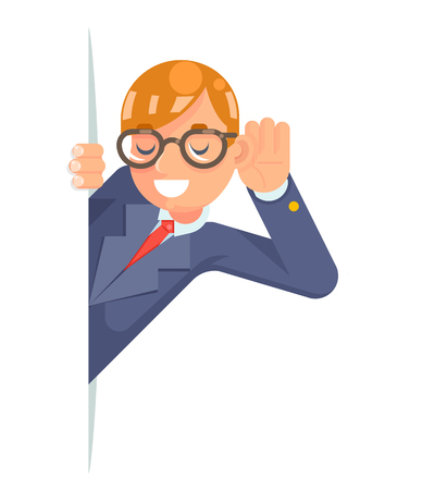 Eyeglasses eavesdropping ear hand listen overhear spy out corner cartoon businessman male isolated character flat design vector illustration