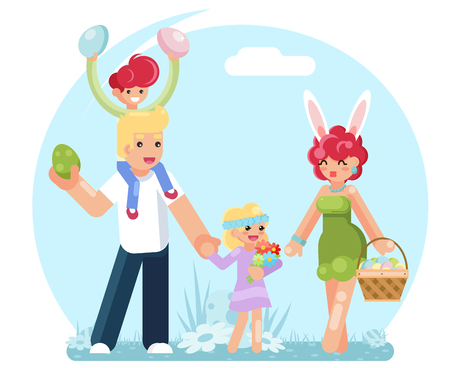 Easter family eggs collecting finding searching flat design vector illustration. Illustration