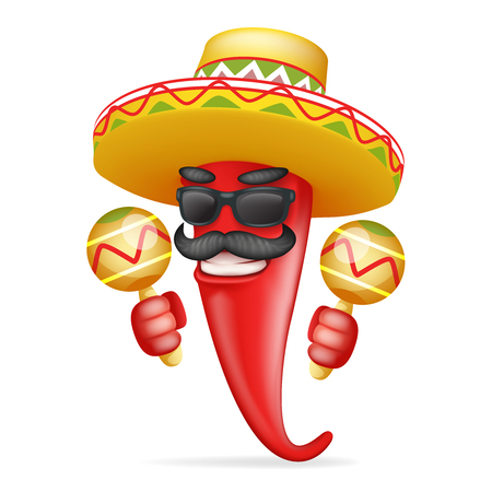 Hot chili pepper with Latin maraca mexican hat  cool sunglasses and mustache. happy character realistic 3d cartoon design vector illustration