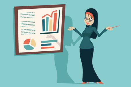 Cute Arab female traditional clothing hijab abaya jacket, presentation info-graphics businesswoman. Cartoon character icon design vector illustration.