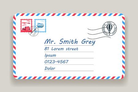 Mailing postal address mail post letter stamp vector illustration