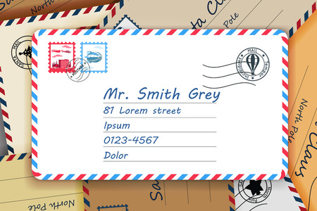 Pile of mailing postal address mail letters post stamp template vector illustration 일러스트