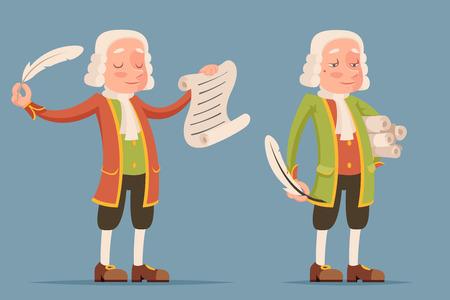 Perruque perruque défilement écriture plume chroniqueur écrivain scribe dramaturge noble médiéval mascotte aristocrate icône dessin animé conception illustration vectorielle