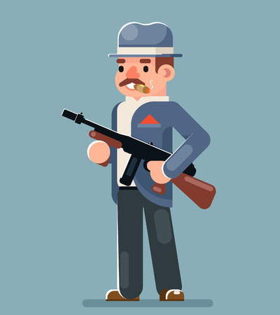 Criminal Gangster Submachine Gun Thug Character Icon Flat Design Vector Illustration Illustration
