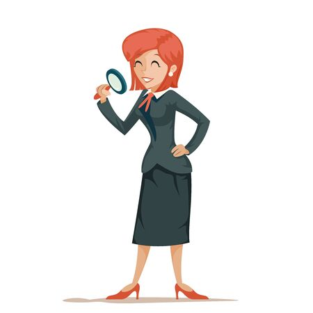 Businesswoman character magnifying glass decision search isolated icon cartoon design vector illustration