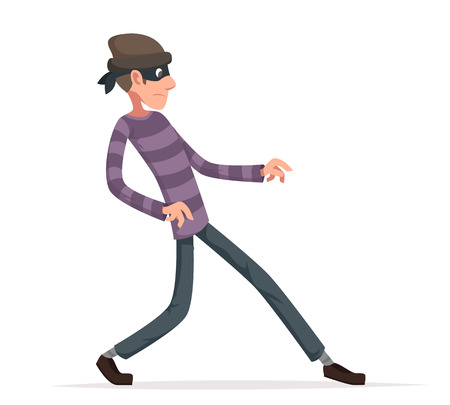 Thief sneak walk cartoon criminal vector character illustration.