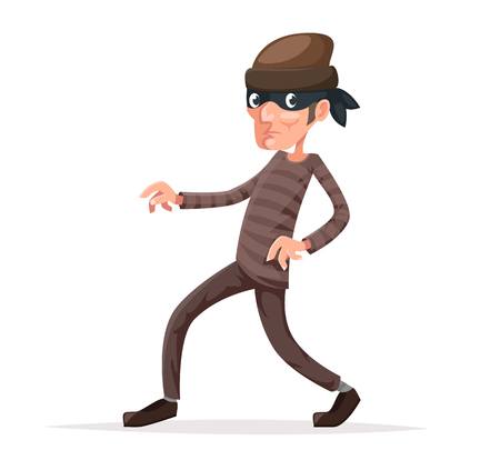 Criminal thief sneak cartoon walk character vector illustration Vectores
