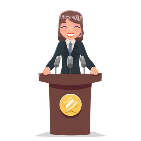 女性政治家トリビューンパフォーマンス女性ビジネスマンかわいい漫画キャラクターデザインベクトルイラスト。