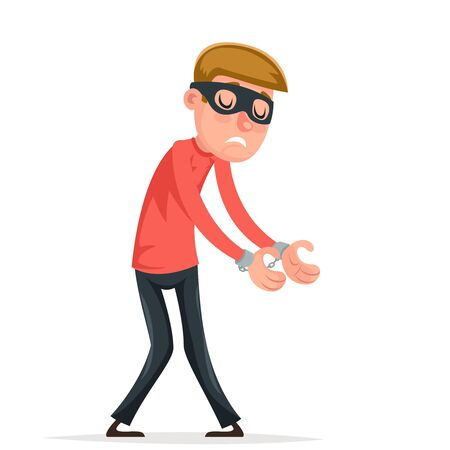 Caught handcuffs burglar robber thief scared guy character isolated icon cartoon design vector illustration