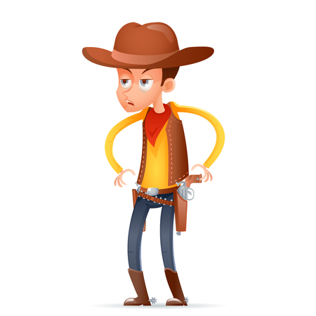 Cowboy wild west american retro gunman cartoon design character isolated icon vector illustration. Illustration