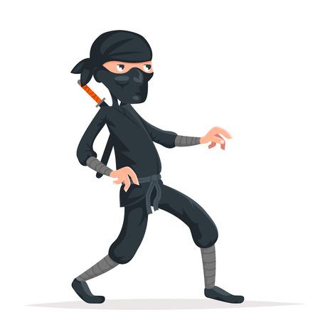 Ninja thief sneak walk sword asian assassin japanese cartoon character vector illustration