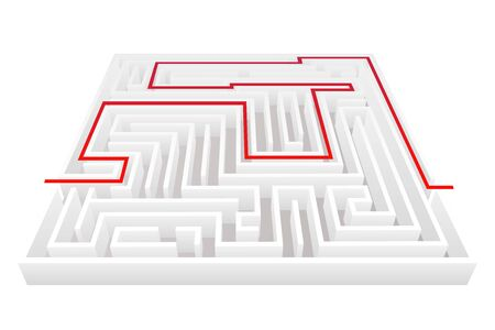 Isometric way pass intricacy maze labyrinth background 3d design template vector illustration